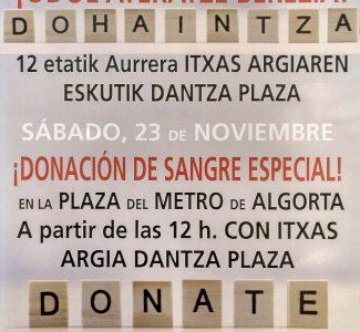 23 DE NOVIEMBRE, DONACIÓN DE SANGRE ESPECIAL